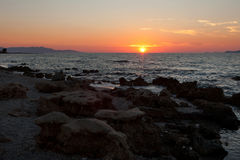 日落在地中海 免版税图库摄影