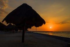 日落在坎比其-墨西哥 库存图片