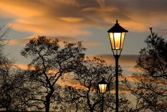 日落在城市公园 免版税库存图片