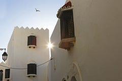 日落在城市在Asilah 库存照片