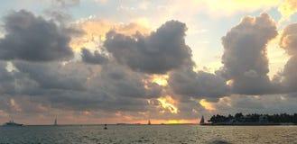 日落在基韦斯特岛 免版税库存图片