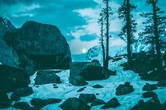 日落在多雪的喜马拉雅山 免版税库存图片