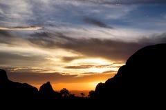 日落在大弯曲国家公园 免版税库存图片