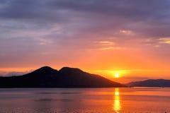 日落在太平洋 免版税库存照片