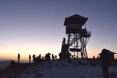 日落在安纳布尔纳峰山区 库存图片
