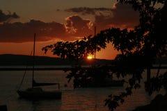 日落在尚普兰湖 免版税图库摄影