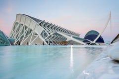 日落在巴伦西亚艺术和科学城市  免版税库存照片