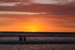 日落在巴厘岛印度尼西亚 库存照片