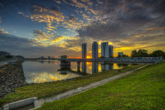日落在布城,马来西亚 库存照片