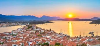 日落在希腊,波罗斯岛 库存照片