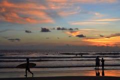 日落在库塔,巴厘岛 库存图片