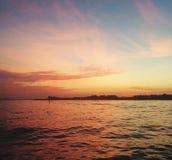 日落在开普梅NJ 免版税库存照片