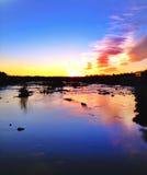 日落在弗吉尼亚詹姆斯河 库存照片