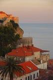 日落在往公海的杜布罗夫尼克 库存图片