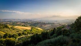 日落在意大利乡下 库存照片
