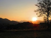 日落在意大利阿尔卑斯 免版税图库摄影