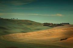 日落在托斯卡纳意大利 库存照片