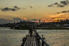 日落在文莱 免版税图库摄影