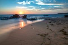 日落在新港海滨,加州 图库摄影