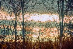 日落在晚秋天在北部国家 库存图片