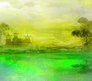 日落在有塔的湖 免版税库存照片
