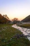 日落在有河的秋天森林里 免版税库存图片