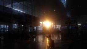 日落在机场 库存照片