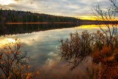 日落在森林湖 库存照片