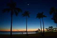 日落在檀香山,夏威夷 库存图片