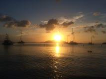 日落在海岛 库存照片