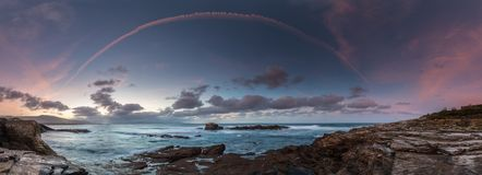日落在海岸和海滩的海加利西亚和阿斯图里亚斯 免版税图库摄影