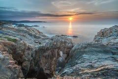 日落在海岸和海滩的海加利西亚和阿斯图里亚斯 库存照片
