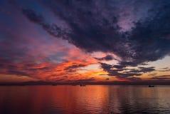 日落在海运 库存照片