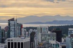 日落在温哥华 免版税库存照片