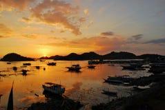 日落在港口 免版税库存图片