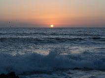 日落在潘泰莱里亚海岛,意大利 图库摄影