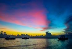 日落在热带 库存图片