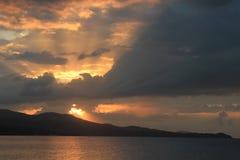 日落在牙买加,加勒比海 库存图片