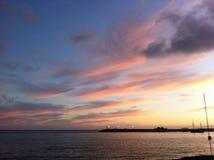 日落在特内里费岛西班牙 免版税库存照片