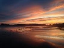 日落在环太平洋国家公园 库存照片