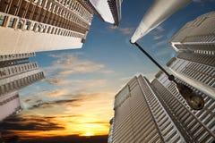 日落在现代城市 图库摄影