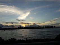 日落在班达亚齐 库存照片