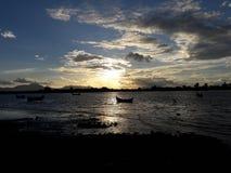 日落在班达亚齐 库存图片