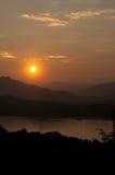日落在琅勃拉邦老挝 图库摄影