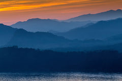 日落在琅勃拉邦,老挝 库存照片