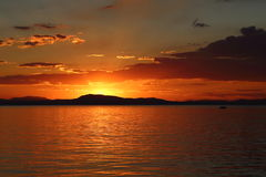 日落在皮立翁山希腊 库存照片