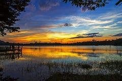 日落在盐水湖的秀丽微明 库存图片
