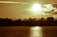 日落在秋天在11月,一种明亮的黄色,棕色和黑颜色 免版税库存照片
