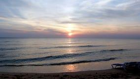 日落在科苏梅尔墨西哥 免版税库存照片