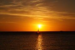 日落在科洛尼亚省,乌拉圭 库存照片